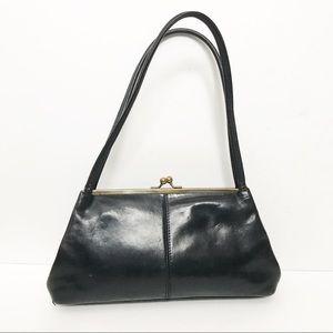 HOBO // Kiss Lock Black Leather Shoulder Bag